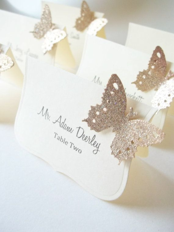 Wedding - Wedding Luxe Escort Cards , Butterfly Place Cards, Wedding Seat Cards - Champagne And Ivory