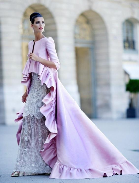 Bridesmaid zuhair murad ruffled pink haute couture for Haute couture red