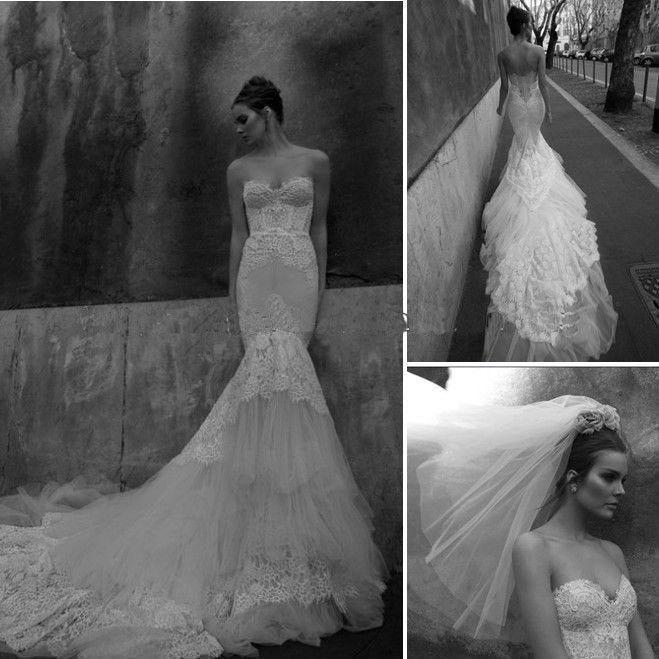 Mariage - Amoureux sexy sans manche de sirène dentelle robes de mariée Robes personnalisé postal