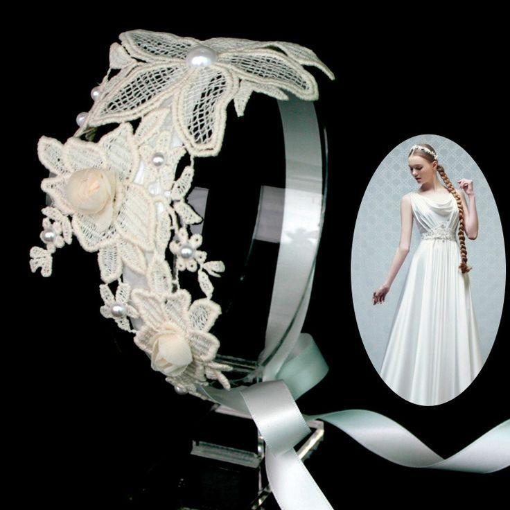 Mariage - Mariage nuptiale Belle Fleur Applique dentelle bandeau de perles casque