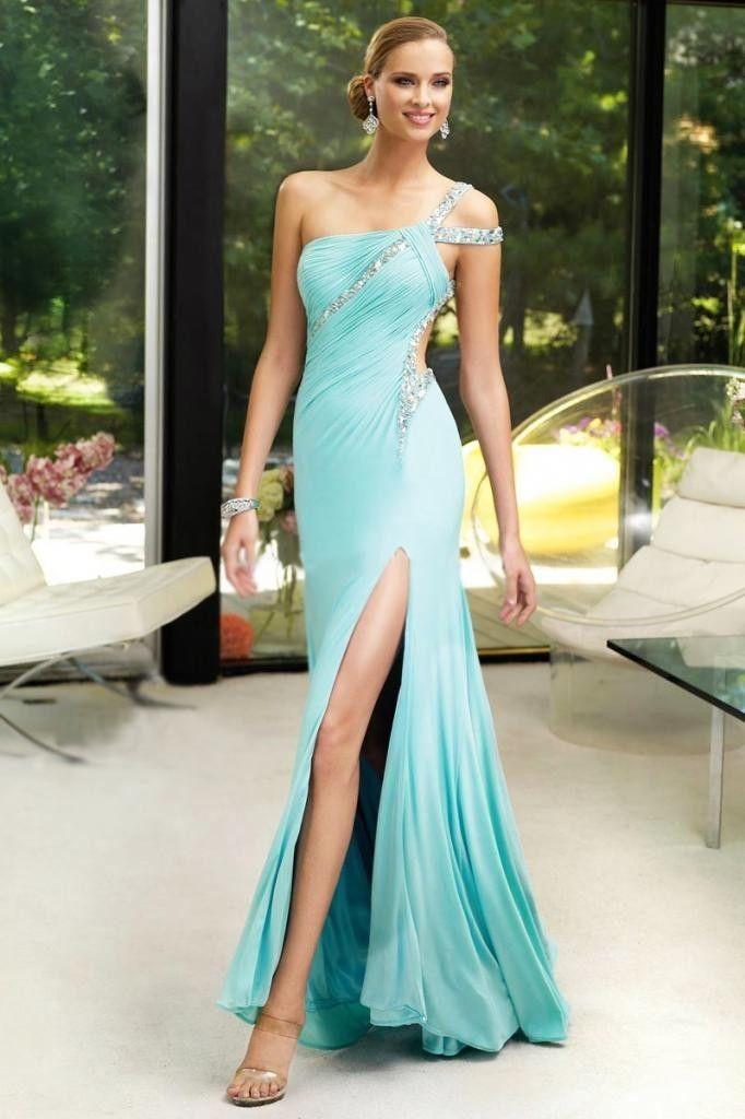 Sexy One Shoulder Party Prom Gown Bridal Gown Long Formal Evening ...