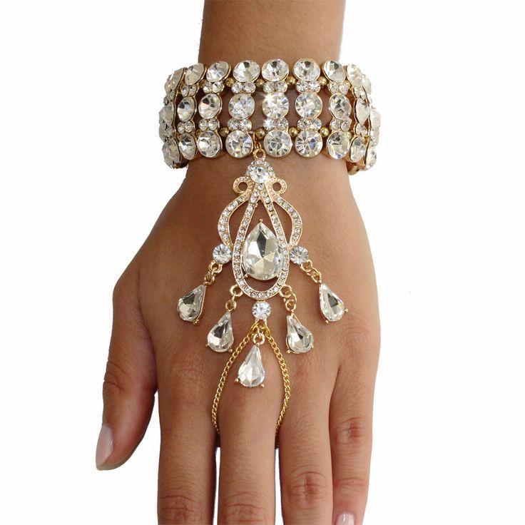 Mariage - Gatsby le Magnifique de 1920 Inspiré or bracelet en cristal aileron pièce à main