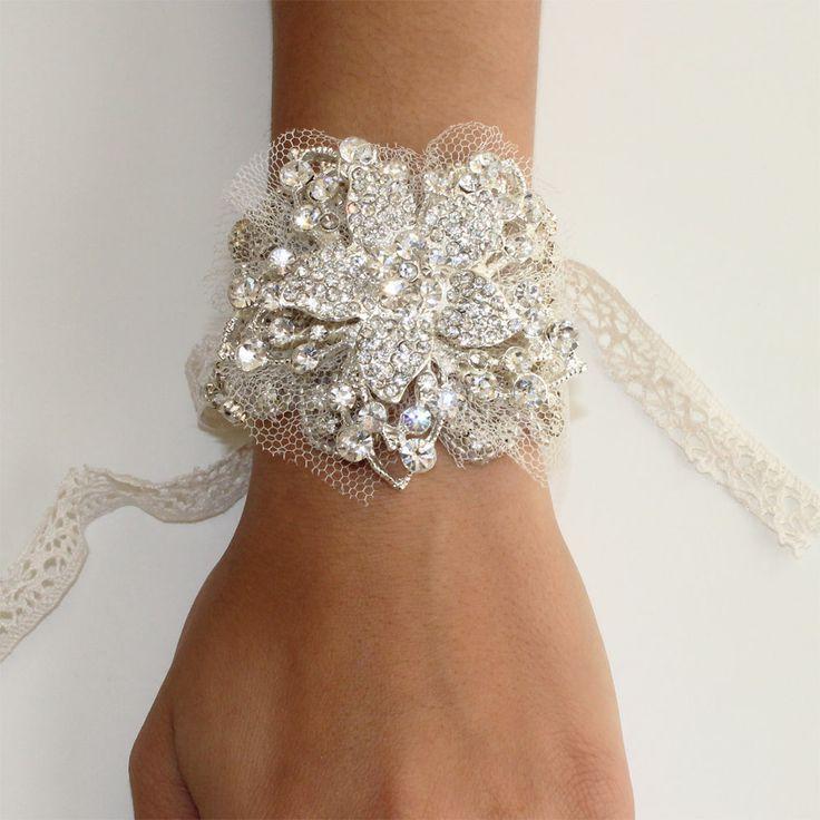 Great Gatsby 1920 Inspired Kristall Blumen Armband Abschlussball