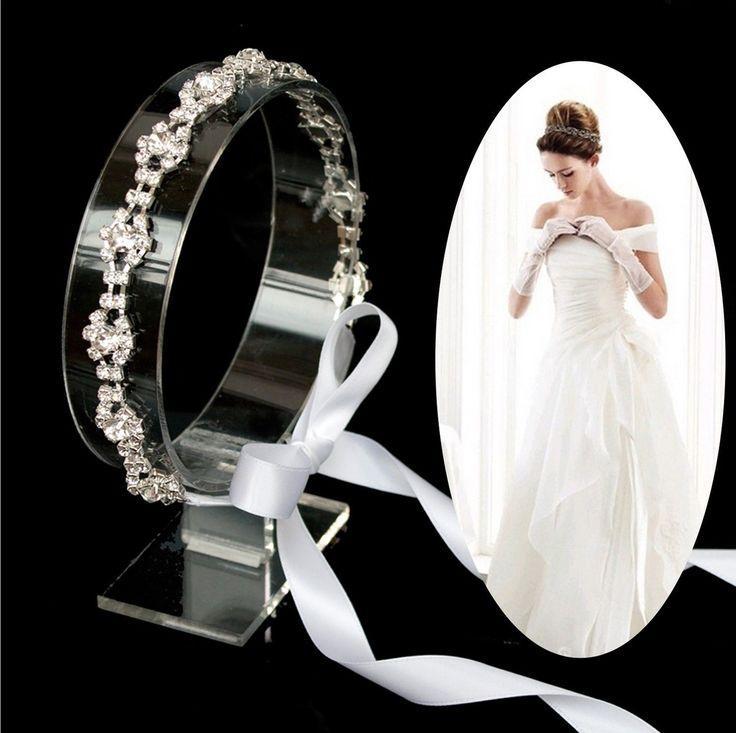 special bridal white ribbon headband rhinestone lace headpiece wedding