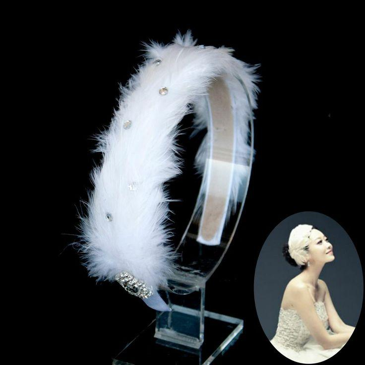 White Swan Feather Rhinestone Headband Wedding Bridal Ballerina Headpiece 8a64351e006