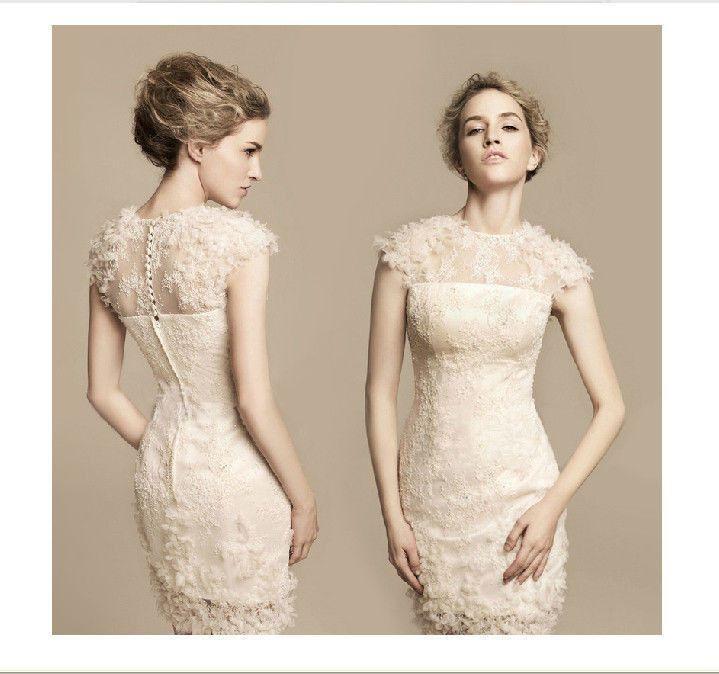 Neue Kurze Weiße Kleid Brautjungfer Bag Hip Spitze Cocktail-Abend ...