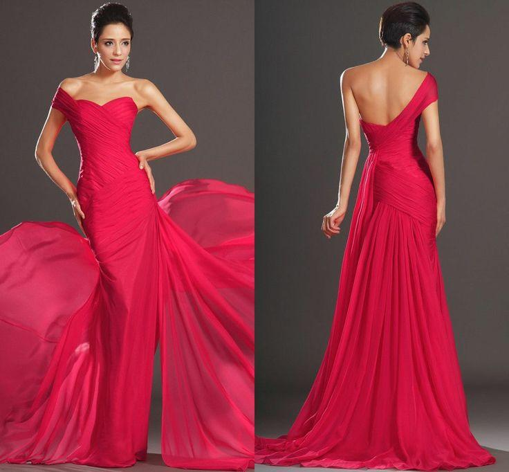 Red One Shoulder Long Chiffon Pageant Formal Evening Dresses Party ...