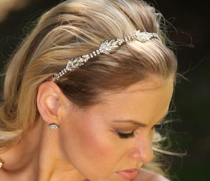 Hochzeit - Brautkristallstirnband Kopfstück mit Band Strass Verschluss