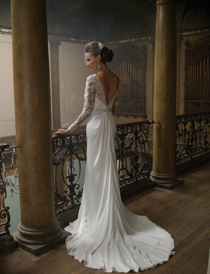 Düğün - Yeni Özel Tasarım Zarif Yuvarlak Yaka Uzun Kollu Fildişi Dantel Sütun Gelinlik