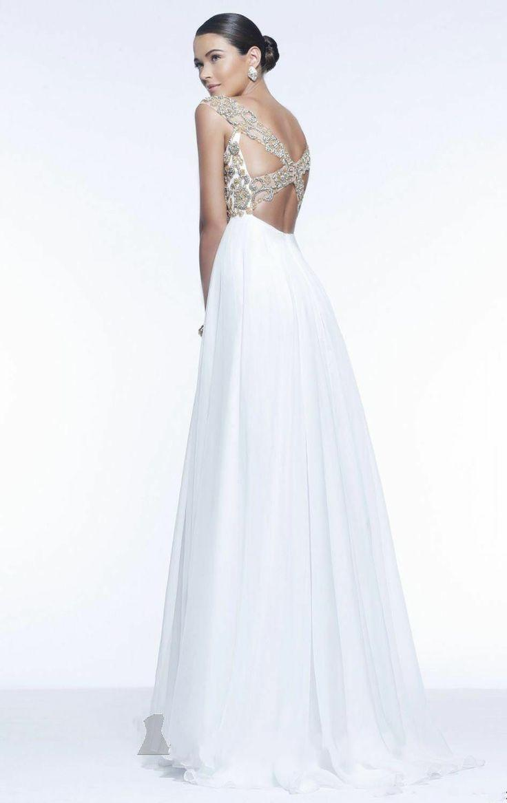 Sexy Cap Sleeve White Beaded Celebrity Evening Gown Party ...