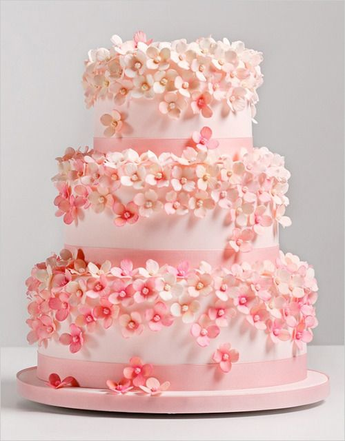 Multi Tier Pink Wedding Cake With Tiny Flowers 2049502 Weddbook