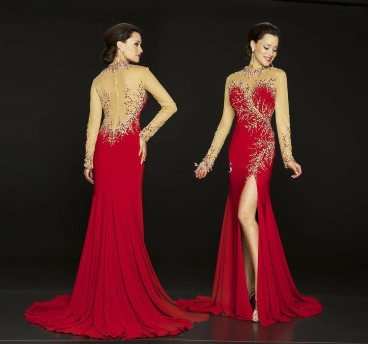 High Collar Red Chiffon Rhinstones Evening Prom Dresses Party Gown Night