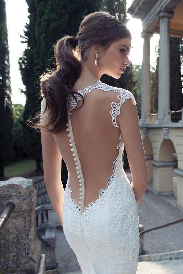 Hochzeit - 2014 New Berta Sheer Lace Meerjungfrau Hochzeitskleid mit tiefem V-Ausschnitt Knopf Brautkleider