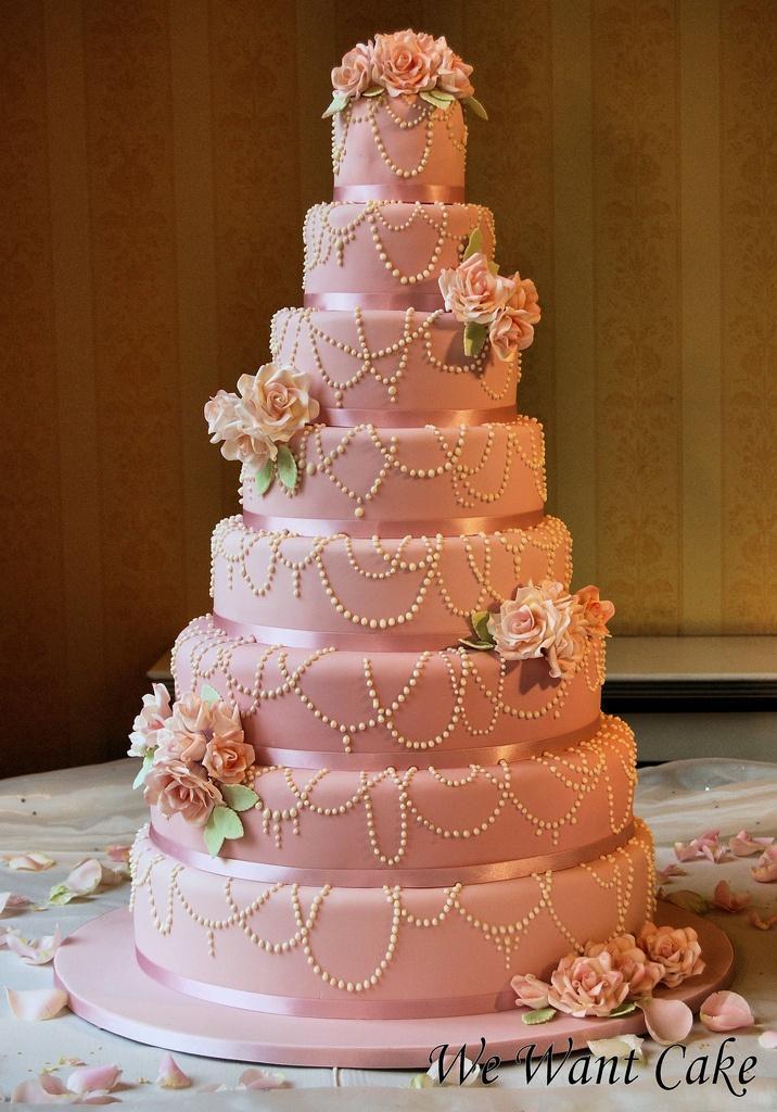 8layered Wedding Cake With Edible Pearls 2050084 Weddbook - Layered Wedding Cake