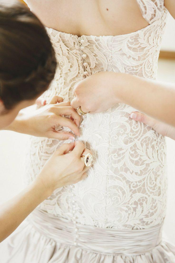 Wedding - White colored wedding lace dress with buttons at the back