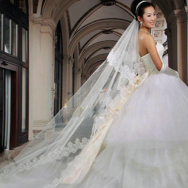 Wedding White Ivory Floor Length Veil With The Strapless ...