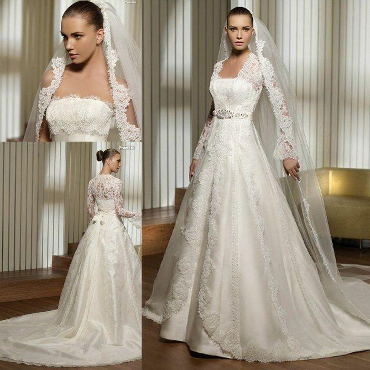 46bb551af1ded Strapless Princess Wedding Dress With Long Lace Sleeves.  2051096 ...