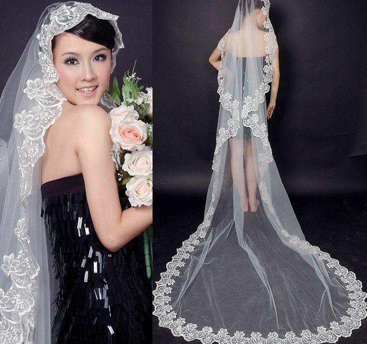 Mariage - 2014 New Ivoire / demoiselle d'honneur blanc Charmante cathédrale Bridal Veil robe de mariée