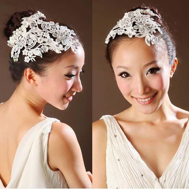 Crochet Wedding Hairstyles : Bridal White Headband Faux Pearl Hair Flower Fascinator Crochet Bead ...