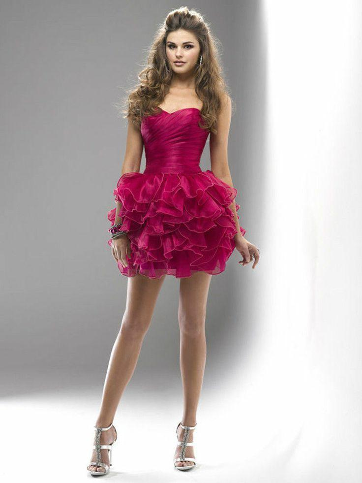 Fuchsia / Cocktail / / Homecoming Kleid / Layered / Short Prom ...
