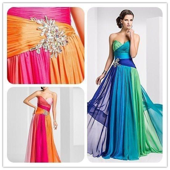 Hochzeit - 2014 neue bunte Chiffon-lange formale Abend-Brautjungfer Abendkleid Kleid