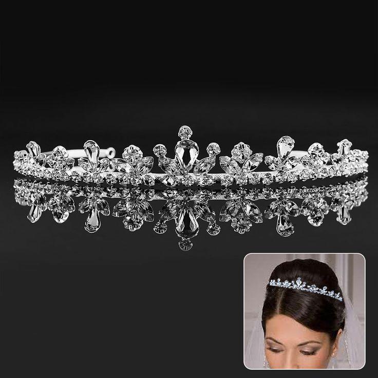 Mariage - Pageant noce Tiara Rhinestone clair casque Teardrop Adjustabl fleur