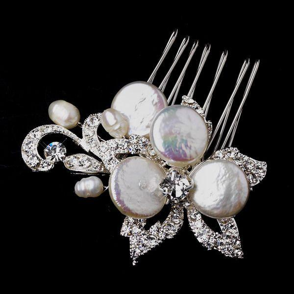 Mariage - TN-O Perle Keshi et strass mariage floral Peigne nuptiale de cheveux