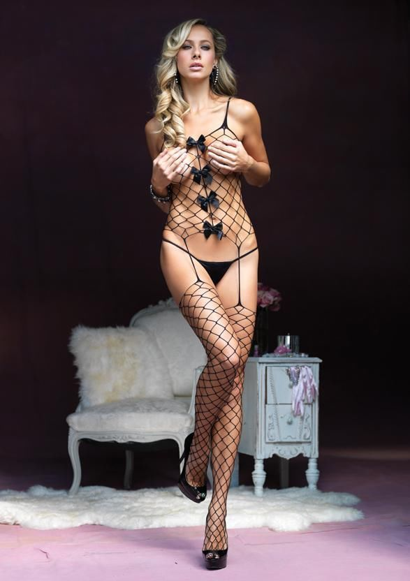 Wedding - Sext Black Fence Net Suspender Bodystocking Satin Bow Accents Lingerie