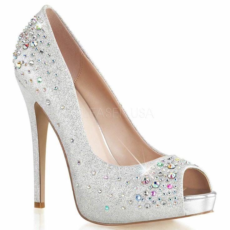 "Wedding - PLEASER HEI22R/SFA Silver Shimmer Gem Jewel Hidden Platform 5"" High Heels Pumps"