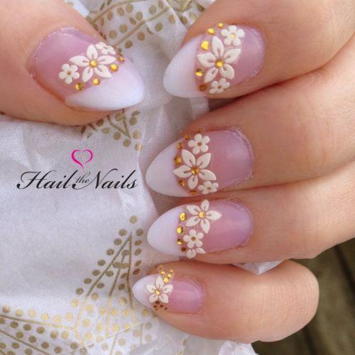 Wedding - Gorgeous White Gold Wedding Bridal Nail Art