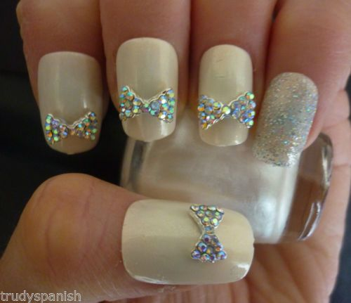 Bling 3D Rhinestone Bow Wedding Nail Art 2062431