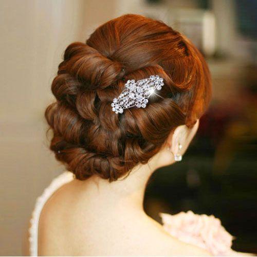 Свадьба - Свадебные Цветочные Листьев Волос Гребень Штук Ясно, Кристаллы, Стразы