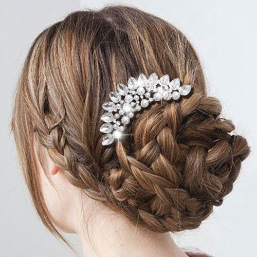 Hochzeits Blumen Tropfen Perlen Haar Kamm Zirkon Kristalle Klar