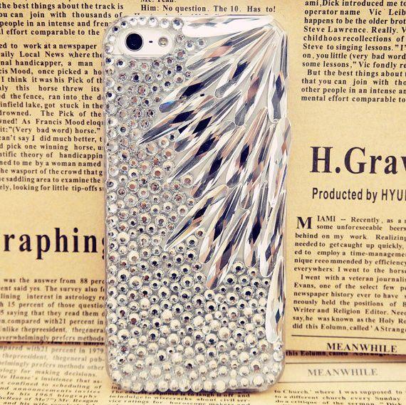 Mariage - Handmade Bling strass cristal Iphone4 4s 5 5s 5c cas de couverture 3d Effacer Feuille