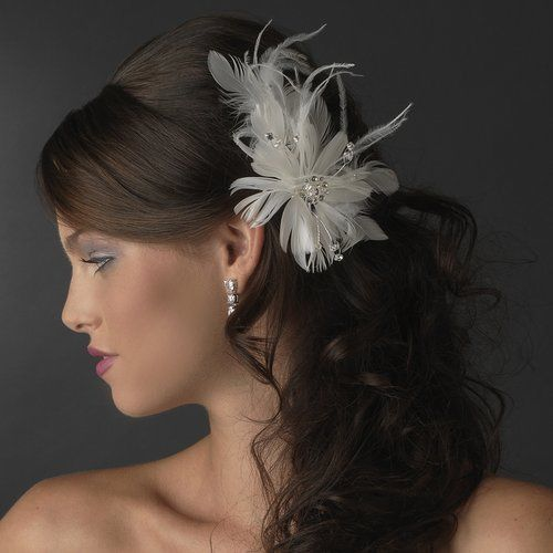 Nwt Ivory Bridal Feather And Rhinestone Wedding Hair Fascinator Comb