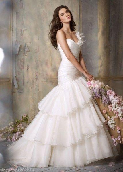 7740f168a60 Новый одно плечо белый органзы свадебное платье нестандартного размера 6-8- 10-12-14-16