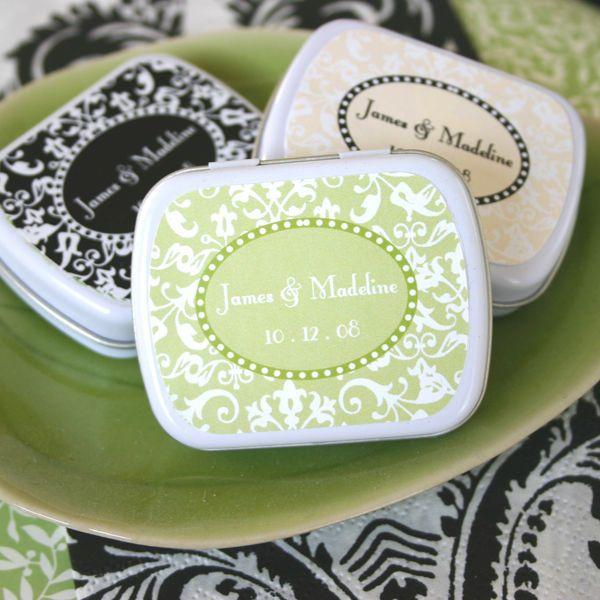 24 Personalized Damask Mint Tins Wedding Favor Boxes Favors 2154828