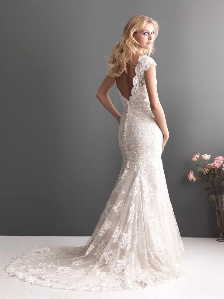 Mariage - Long lace wedding dress for v-shaped