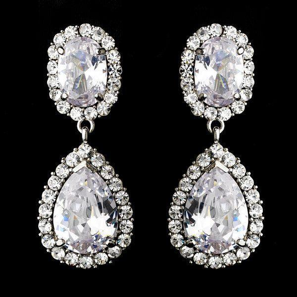 Mariage - NWT Glamorous Silver Plated CZ Cubic Zirconia Clip On Drop Wedding Earrings