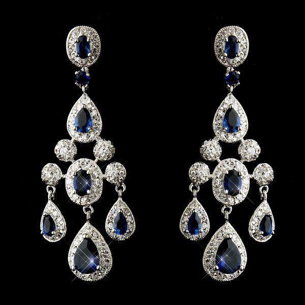 زفاف - NWT Stunning Sapphire Blue CZ Wedding Prom Pageant Chandelier Earrings