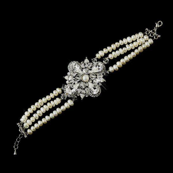 زفاف - NWT Vintage Look Freshwater Pearl And Rhinestone Wedding Bridal Bracelet