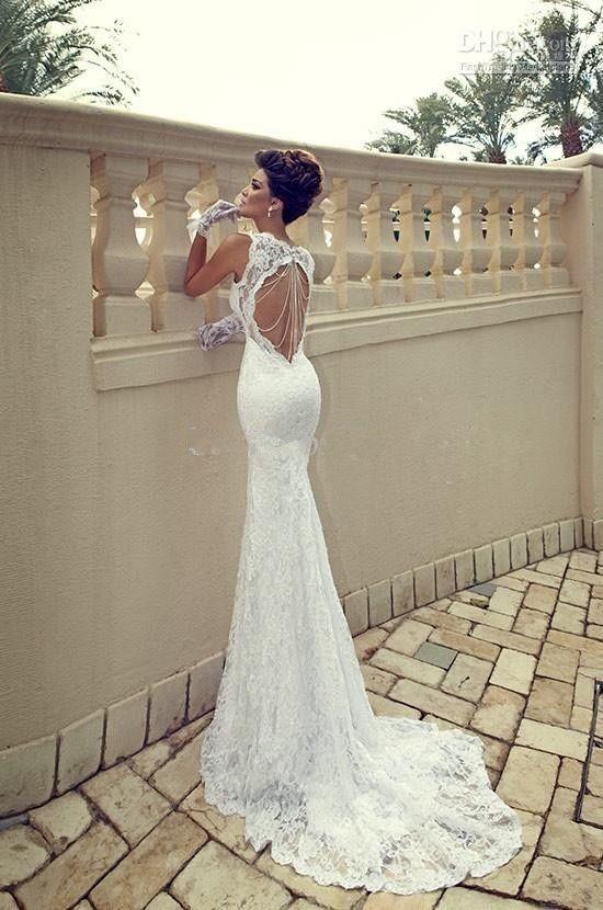 Lace Mermaid Wedding Dress Size 16 : Ivory mermaid lace wedding bridal dress custom size