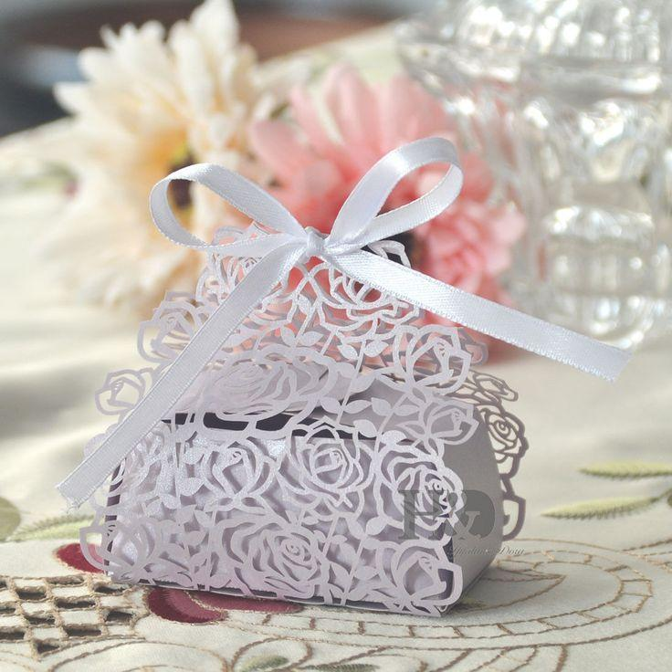 36pcs Lilac Rose Shaped Candy Boxes With Ribbons Wedding Favor Party