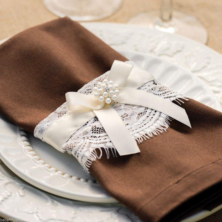 Mariage - Splendid Elegance Lace & Pearl Chair Candle Wedding Wine Bottle Bouquet Wrap