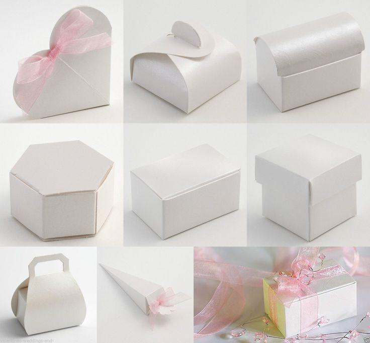 Hochzeit - Best Quality DIY Perla White Embossed Wedding Favour Favor Boxes