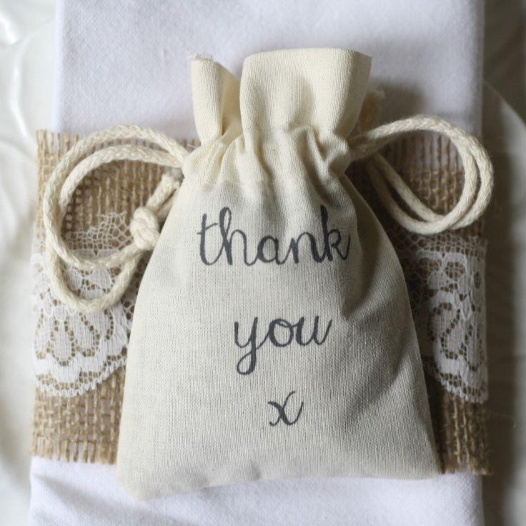 Mariage - Thank You Cotton Wedding Favour Bags