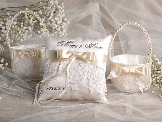 Flower Girl Basket Ring Bearer Pillow Set Bowl And Lace Embriodery Names