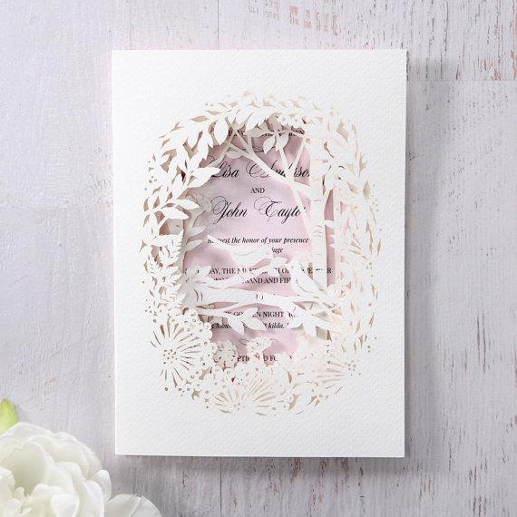 Laser cut forest 3d pocket iwp14112 pk wedding for 3d wedding invitations glasses