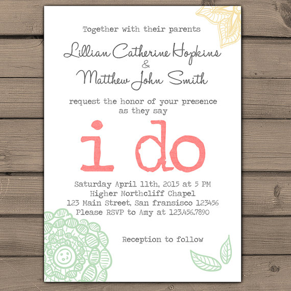 Wedding Invitation I Do Lace Wedding Invites Typewriter Rustic Wedding  Shabby Chic Classy Flower Floral Coral Teal Peach Digital Printable   New
