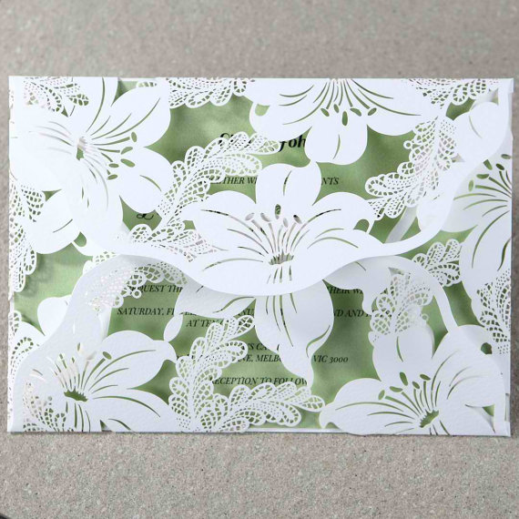 Mariage - Lily Blossoms Laser Cut Wrap - Wedding Invitation Sample (BH3577) - New
